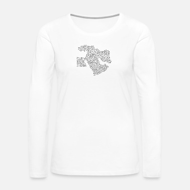 World Map Snow Wordcloud of a Map of Middle East form (black - Women's Premium Long Sleeve T-Shirt