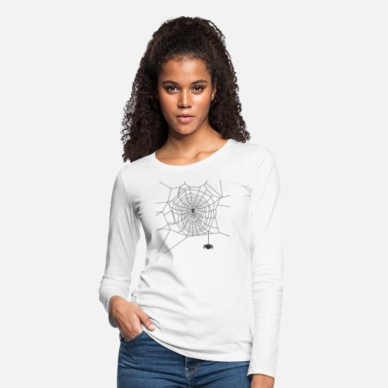 Treat Long-Sleeve Shirts - Spooky Spiderweb Spider Cobweb Structure - Women's Premium Longsleeve Shirt white