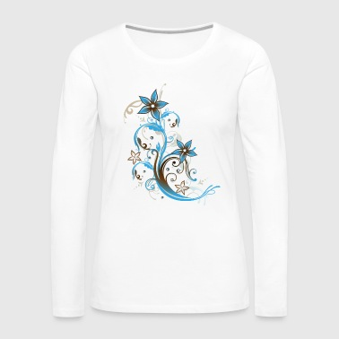 Party Beach Design. Tendril with flowers and waves - Women's Premium Long Sleeve T-Shirt