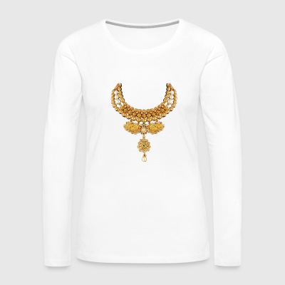 indian necklace jewelry gemstone bling tshirt / cu - Women's Premium Long Sleeve T-Shirt