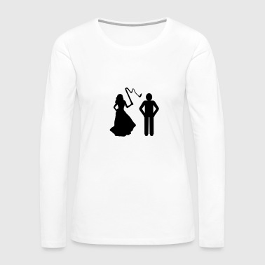 Marriage, Bride with whip & Groom - Women's Premium Long Sleeve T-Shirt
