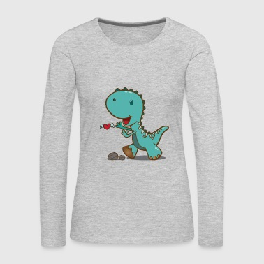 Lovely cute dino searching for heart gift - Women's Premium Long Sleeve T-Shirt