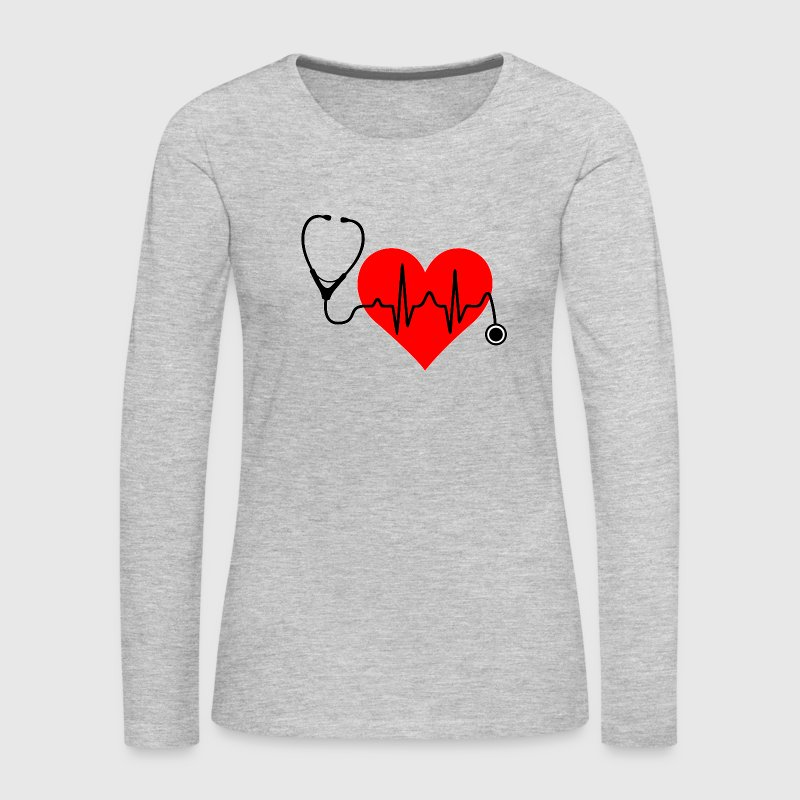Stethoscope Heartbeat - Women's Premium Long Sleeve T-Shirt