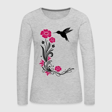 Hummingbird Floral motif with flowers and hummingbird. - Women's Premium Long Sleeve T-Shirt