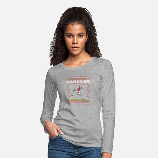 Pitcher Long-Sleeve Shirts - Softball Pitcher Ugly Christmas Sweater Holiday T- - Women's Premium Longsleeve Shirt heather gray