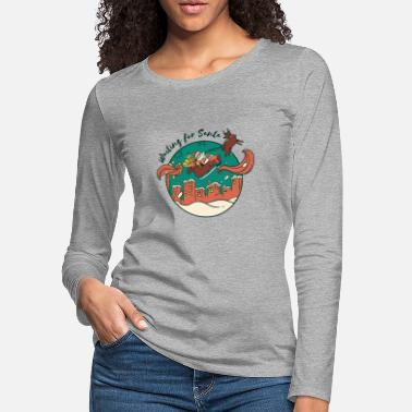 Christmas waiting for santa santa sleigh reindeer - Women's Premium Longsleeve Shirt
