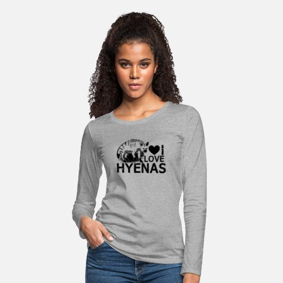 Hyena Shirt Long-Sleeve Shirts - I Love Hyenas Shirt - Women's Premium Longsleeve Shirt heather gray