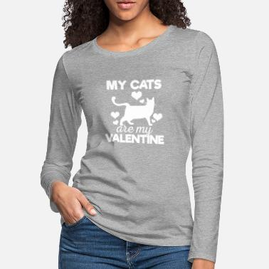 Cute My Cats are My Valentine Tshirt - Women's Premium Longsleeve Shirt