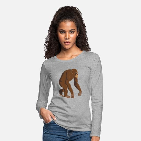 Monkeys Long-Sleeve Shirts - Chimpanzee - Women's Premium Longsleeve Shirt heather gray
