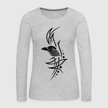 Tribal, tattoo with crows head. - Women's Premium Long Sleeve T-Shirt