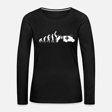 Black History Evolution Ambulance Motorcycling Stunt Injury Gift - Women's Premium Long Sleeve T-Shirt