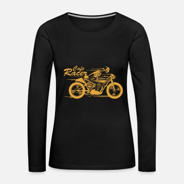 Motor Cafe - cafe racer | skeleton riding a cafe racer - Women's Premium Long Sleeve T-Shirt