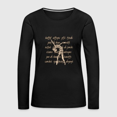 Ballet Terminology Swirls Dance Teacher for dark - Women's Premium Long Sleeve T-Shirt