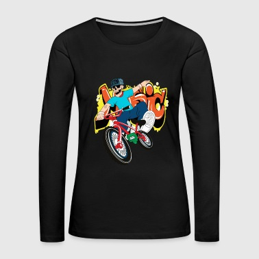 Old School Hip Hop Bike skeleton rap hip hop vector illustration cool - Women's Premium Long Sleeve T-Shirt