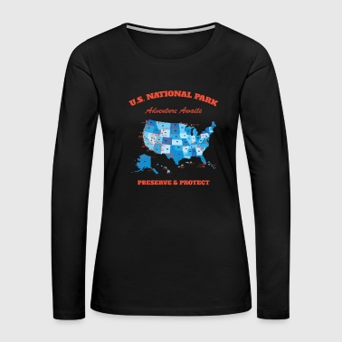U.S National Parks Map Hiker Camper Summer Vacation - Women's Premium Long Sleeve T-Shirt