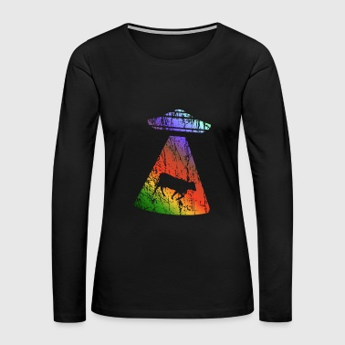 flying saucer cattle rainbow colors - Women's Premium Long Sleeve T-Shirt