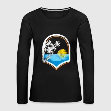 Ocean Sunset Palm trees sea kids gift - Women's Premium Long Sleeve T-Shirt