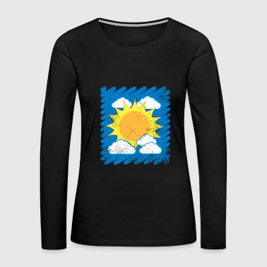Drawn Sky Kids Drawing Sun Clouds summer - Women's Premium Long Sleeve T-Shirt