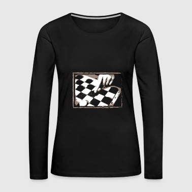 Checkerboard Game Design Gift for Boardgame Lovers of Chess, Checkers or Draughts - Women's Premium Long Sleeve T-Shirt