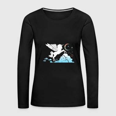 Unicorn above the clouds fantasy gift kids - Women's Premium Long Sleeve T-Shirt
