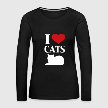 I heart Cats graphic heart love design - Women's Premium Long Sleeve T-Shirt