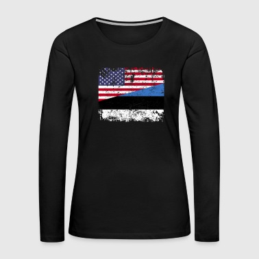 ESTONIAN ROOTS | American Flag | ESTONIA - Women's Premium Long Sleeve T-Shirt