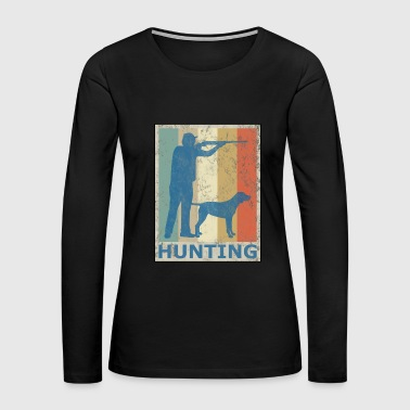 Retro Vintage Style Hunting Hunter Hunt Dog - Women's Premium Long Sleeve T-Shirt