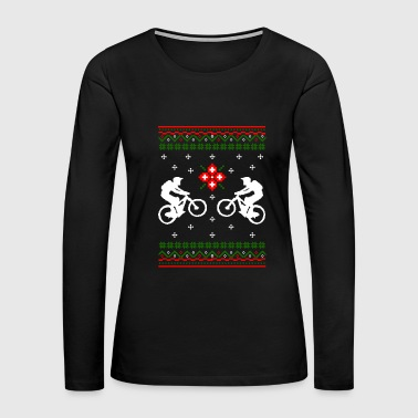 Funny Ugly Christmas Cycling Snowflakes Bicycle - Women's Premium Long Sleeve T-Shirt
