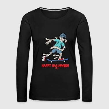 Halloween Skateboarding Skeleton Skull Bone Horror - Women's Premium Long Sleeve T-Shirt