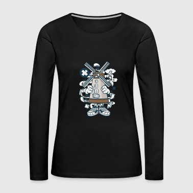 Stick Figure Windmill - Women's Premium Long Sleeve T-Shirt