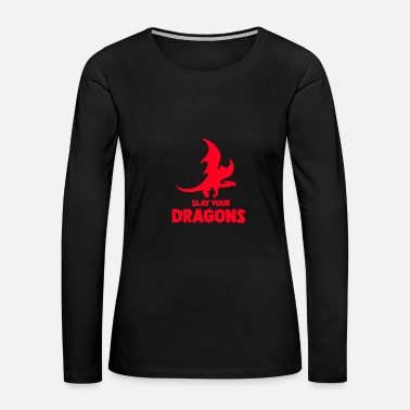 Mythical Creature Dragon, fire, mythical creature - Women's Premium Long Sleeve T-Shirt