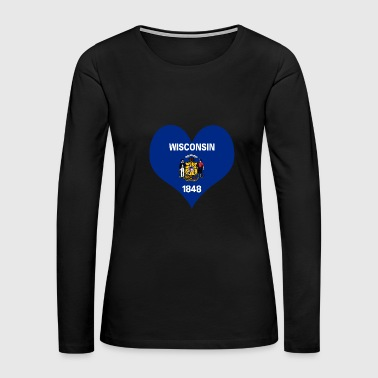 Heart Wisconsin Love country America USA gift idea - Women's Premium Long Sleeve T-Shirt
