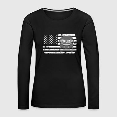 American Trucker Distressed Flag Truck Driver - Women's Premium Long Sleeve T-Shirt