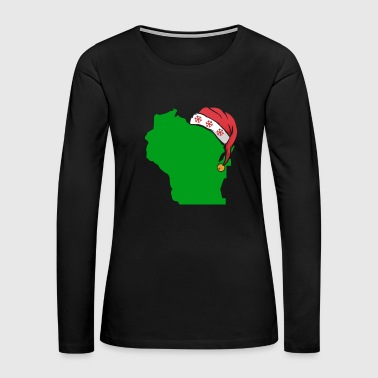 Wisconsin Christmas Cute Christmas Gift Green US State - Women's Premium Long Sleeve T-Shirt