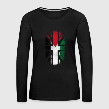 British Palestinian Flag - Palestine and UK Pride TShirt - Women's Premium Long Sleeve T-Shirt