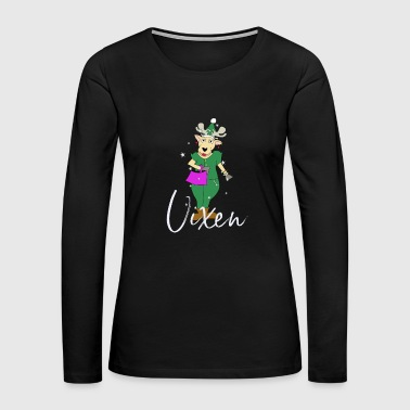 Vixen Cute Reindeer Funny Christmas Group Set - Women's Premium Long Sleeve T-Shirt