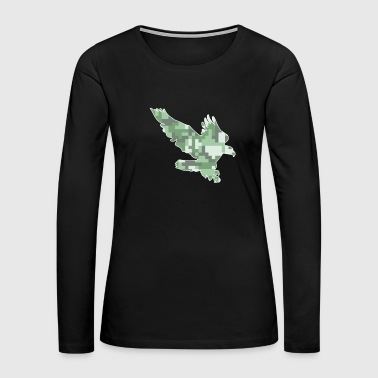 Hawk Attacking Eagle Camo Screaming Eagle Green Camo - Women's Premium Long Sleeve T-Shirt