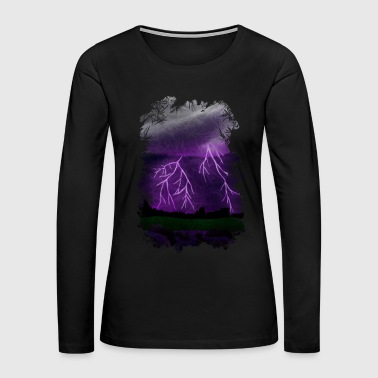 Purple Lightning Scene - Women's Premium Long Sleeve T-Shirt