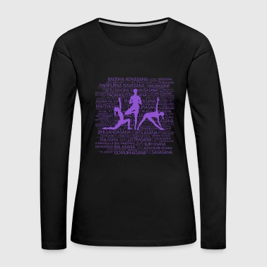 Yoga Asanas / Poses Sanskrit Word Art  - Women's Premium Long Sleeve T-Shirt