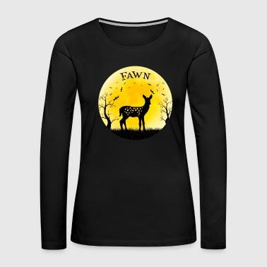 Fawn Baby Deer Halloween Vintage Retro Moon - Women's Premium Long Sleeve T-Shirt