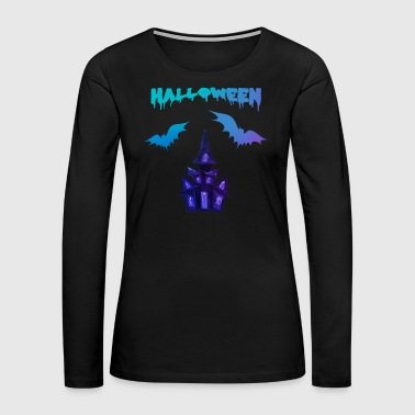 Sour Halloween scary castle bat blue - Women's Premium Long Sleeve T-Shirt