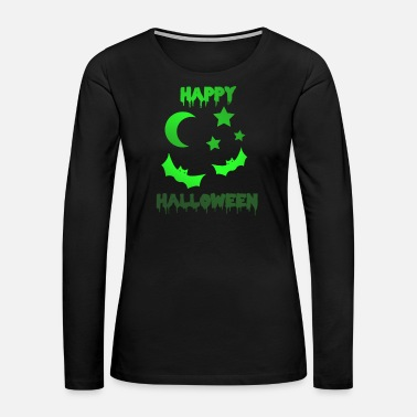 Ghost Happy Halloween Night moon stars fear - Women's Premium Long Sleeve T-Shirt