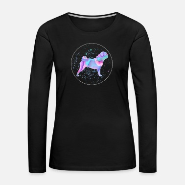 Pug Pug Watercolor Dog Owner Gift - Women's Premium Long Sleeve T-Shirt