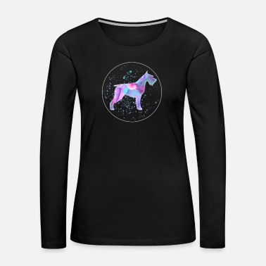 Training Schnauzer Dog Watercolor Art - Women's Premium Long Sleeve T-Shirt