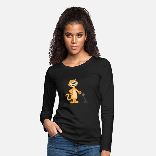Dollar Long sleeve shirts - Metal Detecting Cat Detector Gift - Women's Premium Longsleeve Shirt black