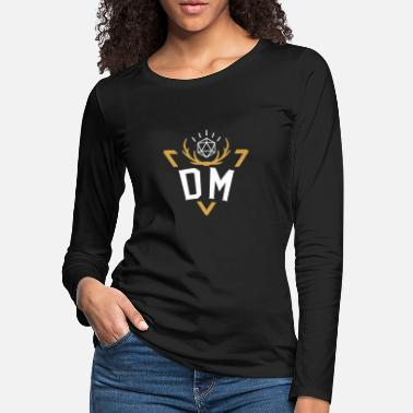 Dm Polyhedral D20 Dice DM Badge Tabletop RPG - Women's Premium Longsleeve Shirt