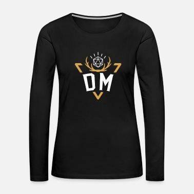 Dice Polyhedral D20 Dice DM Badge Tabletop RPG - Women's Premium Long Sleeve T-Shirt