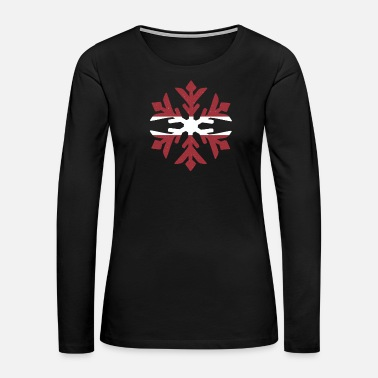Hockey Latvia Flag Winter Snowflake Design - Women's Premium Long Sleeve T-Shirt
