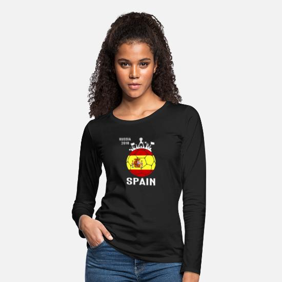 World Long-Sleeve Shirts - Spain Soccer Jersey World Shirt Cup Football Fan F - Women's Premium Longsleeve Shirt black