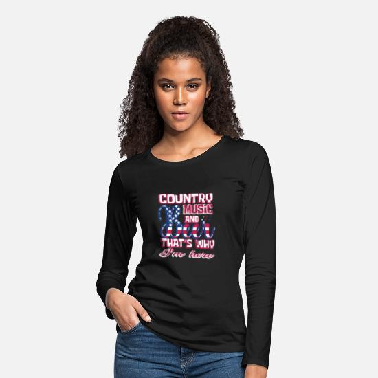 Funny Long-Sleeve Shirts - Country Music Beer USA Flag Fan Funny Gift - Women's Premium Longsleeve Shirt black